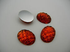 4 VINTAGE West German hand made cabochons 22x16mm Pineapple Topaz clear #15 ii