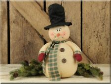 Primitive Chubby`Fuzzy`Standing Snowman Doll~ Top Hat`Mittens ~`Honey and Me`