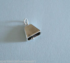 SC539 Sterling Silver Moveable Cow Bell Charm Traditional Charm, No Stone