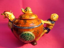 AMAZING TEA POT-MAJOLICA MONKEY ROOSTER & TURTLE-HAND PAINTED