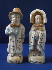 German Porcelain Earthenware Hand Painted Figures Grandma Grandpa Pair Gift Idea