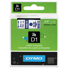 "Dymo 3/8"" (9mm) Blue on White Label Tape for LabelWriter Duo LWDuo, LW Duo"