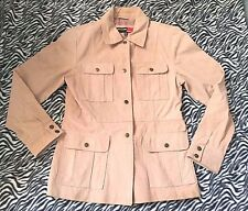 Marcelle Renee Beige 100% Leather Safari Jacket Coat Clothes Womans  sz Medium