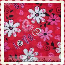 BonEful Fabric FQ Cotton Quilt Red Pink White Flower Valentine Heart Kid B&W Dot