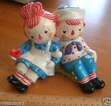 Raggedy Ann 1972 Andy figural bank I Love you arm in arm RARE ceramic Japan