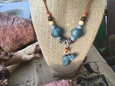VINTAGE African Ethnic Tribal Blue Wooden Beads & Clay Elephant Necklace NWOT!