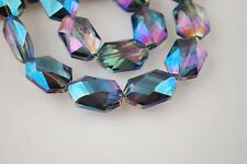 18x12mm Oval Hexagon Faceted Crystal Glass Charms Findings Spacer Loose Beads