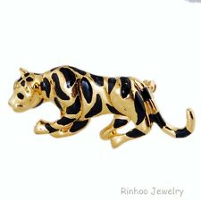 Crystal Yellow Gold Tone Tiger Pin Brooch Rhinestone Fashionable Pin Brooch New