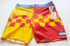 MENS SWIM SHORTS VANS BOARD SHORTS SURFING Size 34 NEW TAGS £55 YELLOW ORANGE