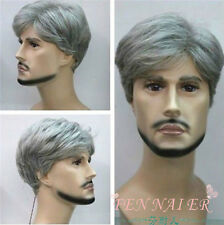 New Fashion Short silver gray Man old healthy  pretend cosplay Wig + wigs cap