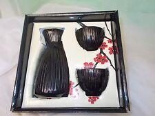 Asian Fusion Saki Set 3 Pieces Black Wine Bottle & 2 Cups Japanese Decor