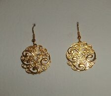 SWIRLY FILIGREE GOLD PLATED DROP EARRINGS - WAVES SURF SEA