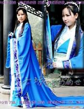 China Hanfu Blue Cape Dress Fancy Gothic Lolita Cosplay Costume Tang Dynasty