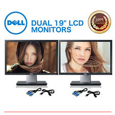 "Matching DUAL Dell, HP, Samsung, Acer, more 19"" LCD Monitors Gaming w/ cables"