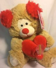 """BROWN AND RED PLUSH PUPPY SINGS TREASURE WITH LED MESSAGE FAN says """"BE MINE"""""""