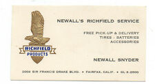1950s Embossed Business Card Newall's Richfield Service Fairfax CA
