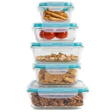 10 Piece: Diamond Home Glass Food Storage Container Set with Snap-Lock Lids
