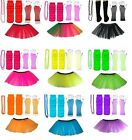 NEON TUTU SKIRT SET LONG GLOVES LEGWARMERS BEADS NECKLACE OUTFIT 80S COSTUME