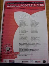 13/09/2011 Colour Teamsheet: Walsall v Oldham Athletic  (Folded). Thanks for vie