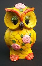 Groovy Flower Power Sixties Seventies Owl Coin Still Bank Yellow Orange Green