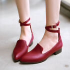 Cute Womens Pointy Toe Ankle Strap Casual Flats Shoes Ankle Buckle Strap Plus SZ