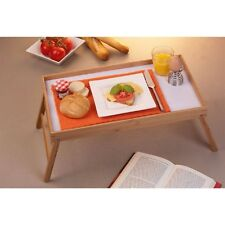 Bamboo Wooden Foldable Serving Tray Breakfast In Bed Folding Legs Food Table New