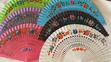 Joblot of 12 pcs Wooden Hand Painted Spanish Folding Hand Fan NEW Wholesale B