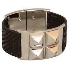 NEW Michael Kors Pyramid Stud Leather Cuff Bracelet in Black / Silver