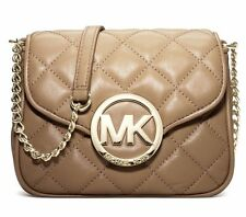 NEW MICHAEL KORS FULTON QUILT MK GOLD LEATHER SMALL CROSSBODY DARK KHAKI BAG