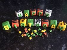 Edible Happy Birthday Jungle Themed Name Blocks Cake Topper Icing Decoration