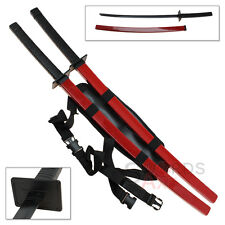 Steel Twin Red Katana Dead Ninja Swords Assassin Pool Double Shoulder Strap Set