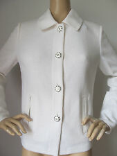 NEW  ST JOHN KNIT SIZE 4 WOMENS SUIT JACKET BRIGHT WHITE LOGO BUTTONS