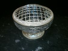LOVELY LEAD CRYSTAL ROSE BOWL, SILVER PLATED CROWN AND BASE