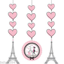 PARTY IN PARIS HANGING CUTOUTS EIFFEL TOWER HEARTS GIRL PINK POODLE PARISIENNE
