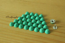 Purse feet studs leather rivet bag clothing shoes 100 sets 10 mm  aque blue M64E