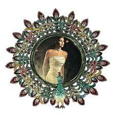 Peacock Picture Frame Swarovski Crystals Enameled Ornate Metal Back Round Frame