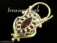 CP71 Genuine 9ct Genuine Gold Natural Garnet Pearl Mourning Locket Padlock Clasp