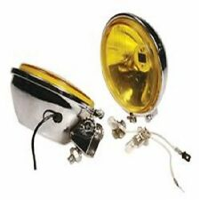 2 x Yellow Spot Lamps Lights with Chrome Backs 110mm Dia Fits Lambretta Vespa