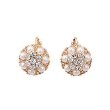 Boucles d`Oreilles Clips Puces Doré Mini Perle Fleur Class Retro J6