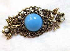 Signed Vintage ORIGINAL By ROBERT Filigree Brooch/Pin Faux Turquoise & Pearls