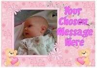 Own photo picture personalised  A4 cake topper icing baby girl christening teddy