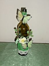 Decorative Wine Bottle Vase or Accent Piece, Green, Butterfly and Floral Accent