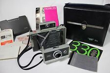 Vintage Polaroid Automatic 330 Land Camera w Manual Print Mount 193 & Carry Case