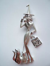 Vintage Signed AJC Silvertone/Matt Witch and Cats Brooch/Pin