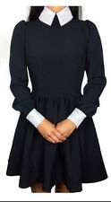 Deandri Nosferatu Dress Size L w/ stretch Black/white collar