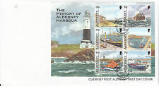 Alderney 2012 FDC History of Harbour 6v M/S Cover Boats Ships RNLI Stamps