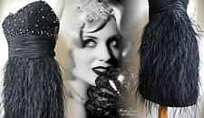 JOVANI Flapper Dress Gatsby Vintage 20's Downton Beaded Feather 6 8 34 36 US 2 4