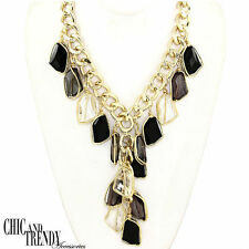 LONG TRENDY SLEEK CHUNKY BLACK & CLEAR GEM NECKLACE CHIC & TRENDY JEWELRY SETS