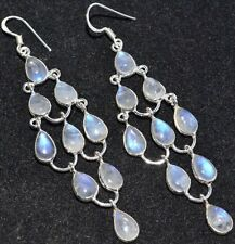 "Sterling 925 SILVER Moonstone Gem Chandelier Earrings, 3"" Long Drop Earring"