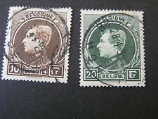 BELGIUM, SCOTT # 212/213(2),10fr.+20fr VALUES 1929 KING ALBERT ISSUE USED
